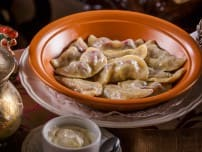 Cherry dumplings with sweet sour cream sauce