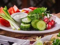 Fresh vegetables with sour cream sauce